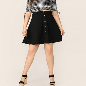 Casual Button Up Flare Plus Size Skirt - Black - WOMENEXY