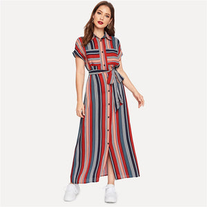 Boho Colorful Striped Belted Hijab Shirt Dress