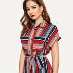Load image into Gallery viewer, Boho Colorful Striped Belted Hijab Shirt Dress - WOMENEXY