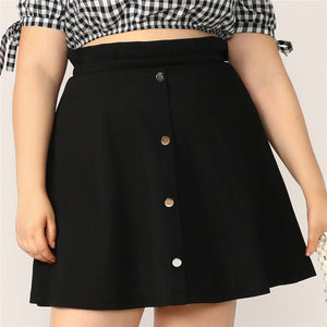 Casual Paperbag Waist Button Up Flare Plus Size Skirt - Black - WOMENEXY