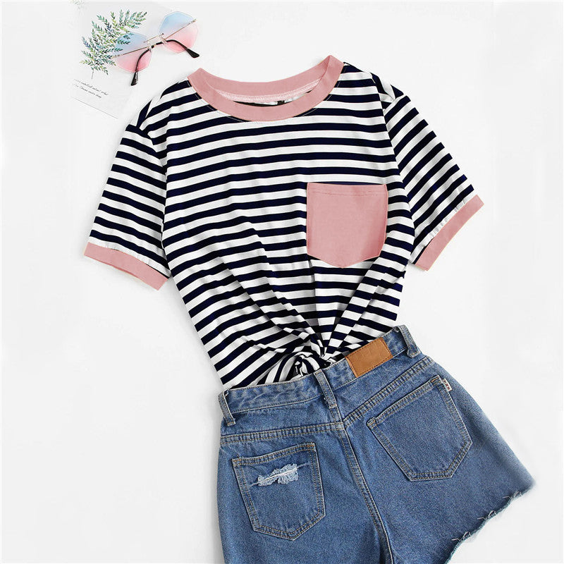 Casual Pocket Patched Striped Ranger T-Shirt