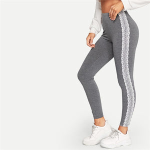 Sporting Lace Applique Side Marled Leggings - Grey - WOMENEXY