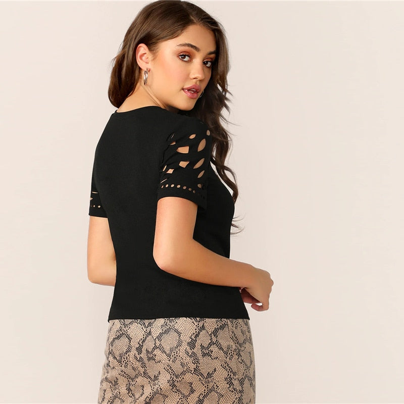 Elegant Laser Cut Form Fitting Tee Solid T-Shirt - Black - WOMENEXY