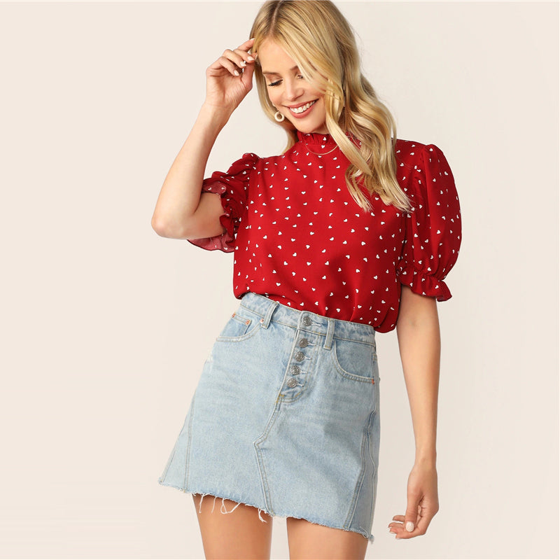 Elegant Frilled Neck Puff Sleeve Confetti Heart Print Top - Red - WOMENEXY