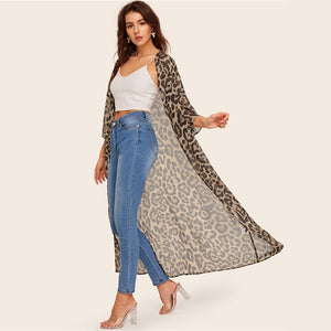 Casual Drop Shoulder Leopard Kimono Cardigan - WOMENEXY