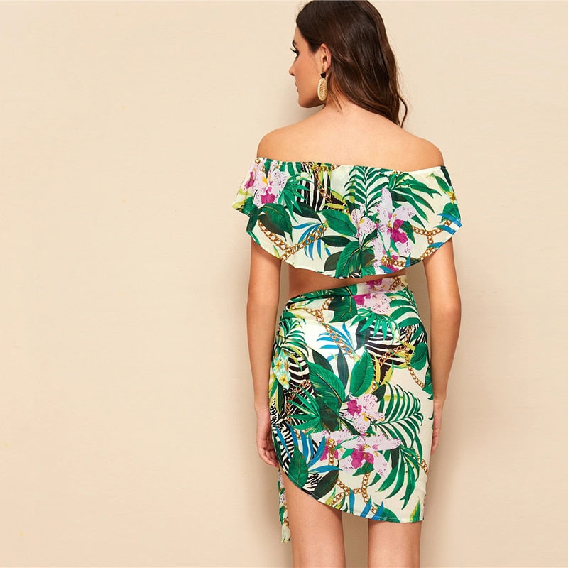 Boho Off Shoulder Foldover Tropical Crop Top and Tie Skirt Set - WOMENEXY
