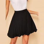 Load image into Gallery viewer, Preppy Zip Side Pleated Skirt - Black - WOMENEXY