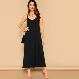 Casual Pocket Patched Swing Cami Summer Dress - Black - WOMENEXY