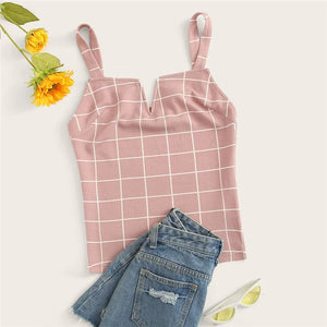 Sweet Grid Fitted Cami Top - Pink