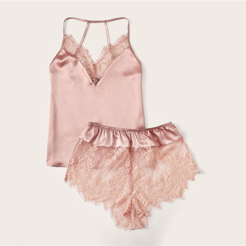 Sexy Lace Trim Satin Cami Top and Shorts Pajama Set - Pink - WOMENEXY