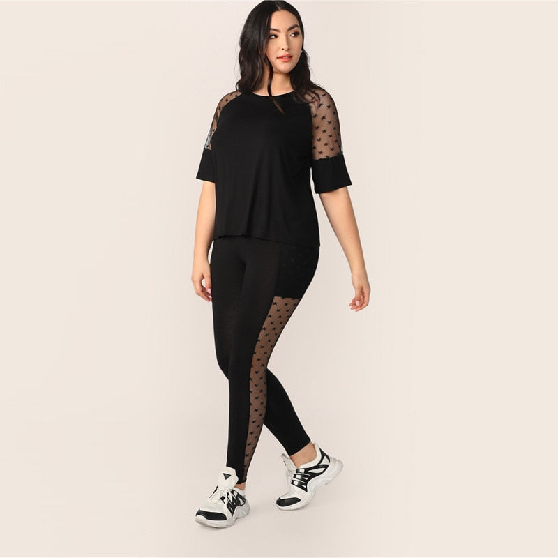 Casual Star Mesh Insert Sleeve Top and Leggings Plus Size Set - Black - WOMENEXY