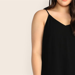 Casual Solid V-Back Plus Size Cami Top - Black - WOMENEXY
