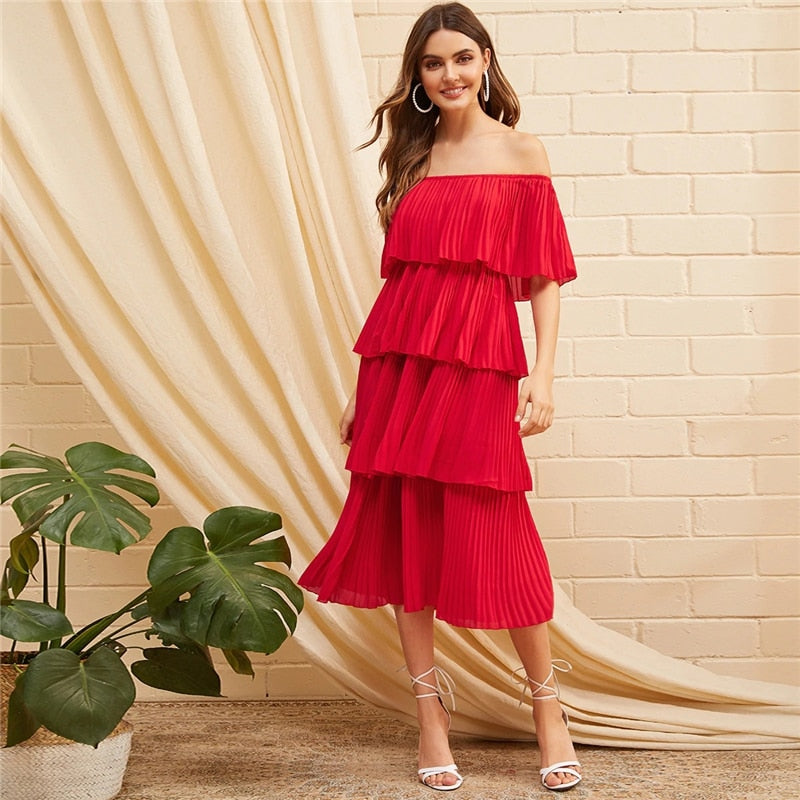 Glamorous Foldover Front Off Shoulder Layered Pleated Dress - Red