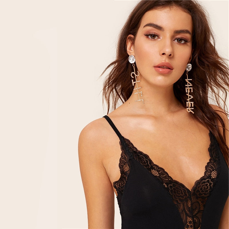 Sexy Plunging Lace Insert Cami Bodysuit - Black - WOMENEXY