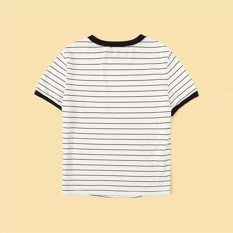Casual Floral Pocket Patched Striped Ringer T-Shirt - Black and White - WOMENEXY