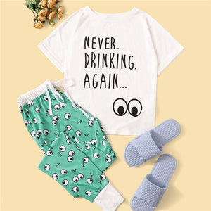 Casual Letter And Eye Rolled Cuff T=Shirt and Pants Pajama Set - WOMENEXY