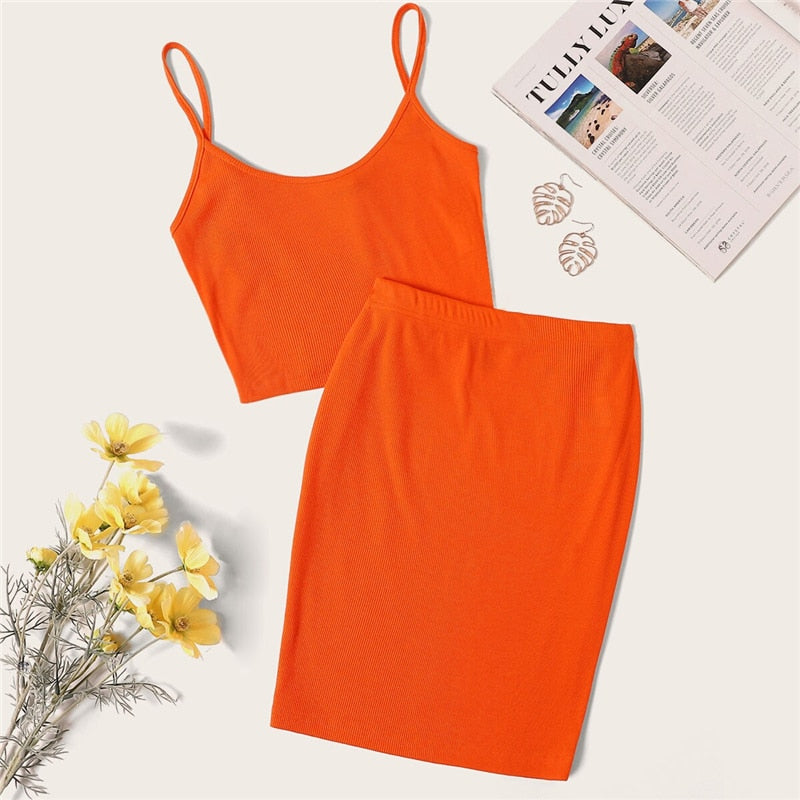Sexy Rib-Knit Crop Cami Top and Skinny Skirt Set - Neon Orange