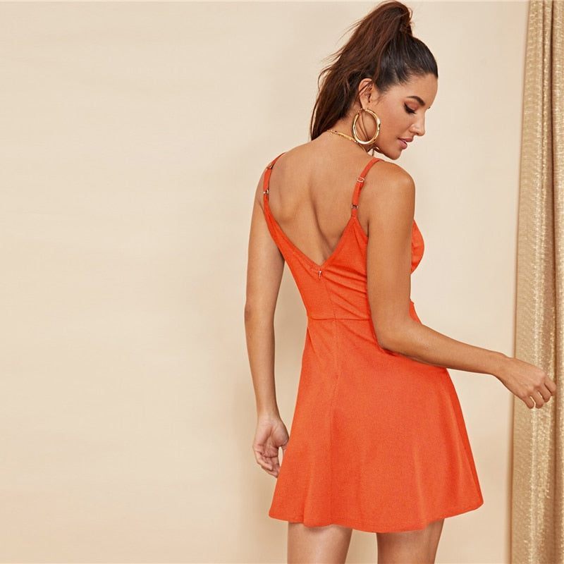 Sexy Backless Solid Wrap Sleeveless Natural Waist Cami Short Dress - Neon Orange - WOMENEXY