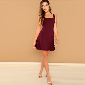 Elegant Fit and Flare Solid Dress - Burgundy - WOMENEXY