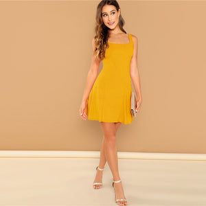 Elegant Fit and Flare Solid Dress - Ginger - WOMENEXY
