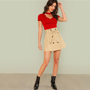Elegant Mock Neck Scallop Trim Cut Out V-Collar Short Sleeve Solid Tee - Red - WOMENEXY