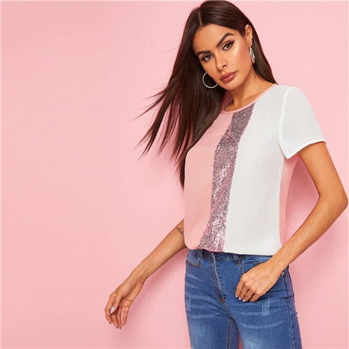 Casual Sequins Contrast Panel Spliced Cut-And-Sew Top - 6 Colors Available - WOMENEXY