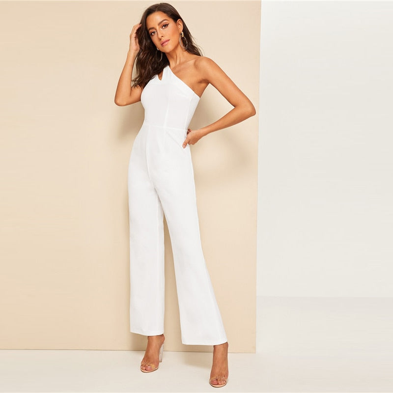 Glamorous Double Strappy One Shoulder Wide Leg Jumpsuit - White - WOMENEXY