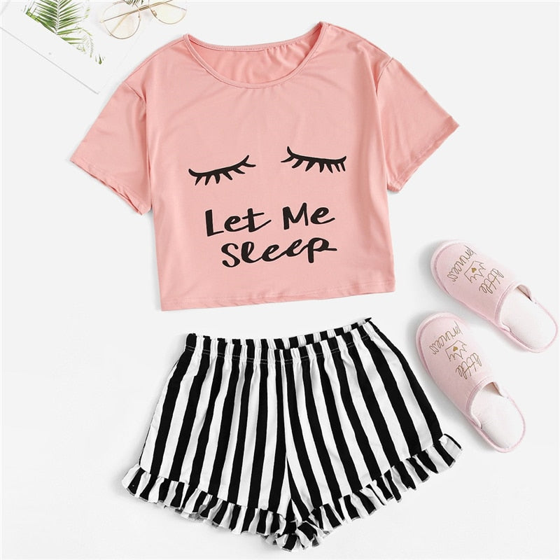 Casual Graphic Tee Frilled Striped Shorts Pajama Sets - Pink - WOMENEXY