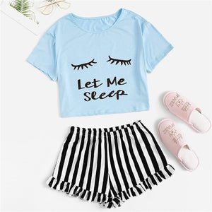 Casual Graphic Tee Frilled Striped Shorts Pajama Sets - Sky Blue - WOMENEXY