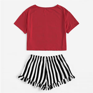 Casual Graphic Tee Frilled Striped Shorts Pajama Sets - Red - WOMENEXY