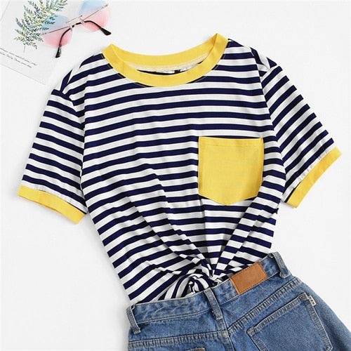 Preppy Patch Pocket Striped Ringer Plus Size Top - Yellow