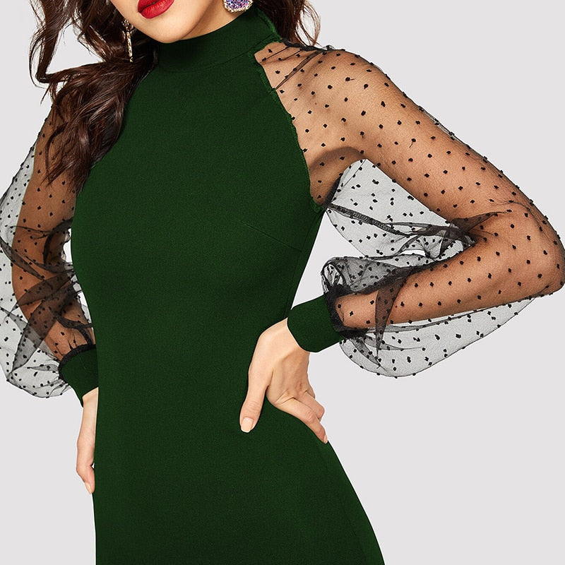 Party Pencil Bodycon Dress With Jacquard Contrast Mesh Lantern Sleeve - Green - WOMENEXY