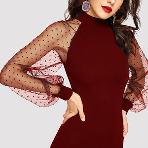 Party Pencil Bodycon Dress With Jacquard Contrast Mesh Lantern Sleeve - Burgundy - WOMENEXY