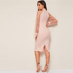 Load image into Gallery viewer, Party Pencil Bodycon Dress With Jacquard Contrast Mesh Lantern Sleeve - Pink - WOMENEXY