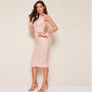 Party Pencil Bodycon Dress With Jacquard Contrast Mesh Lantern Sleeve - Pink - WOMENEXY
