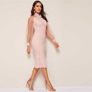 Party Pencil Bodycon Dress With Jacquard Contrast Mesh Lantern Sleeve - Pink