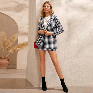Preppy Gingham Print Single Button Front Blazer and Skirt Set - Black and White - WOMENEXY