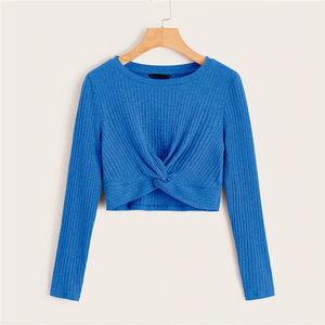 Casual Solid Twist Front Rib-Knit Crop Top - Blue