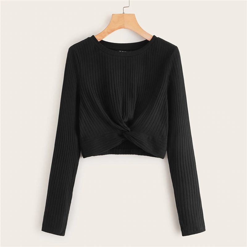 Casual Solid Twist Front Rib-Knit Crop Top - Black