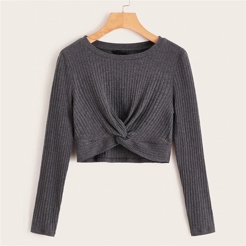 Casual Solid Twist Front Rib-Knit Crop Top - Gray