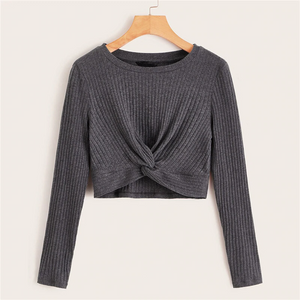 Casual Solid Twist Front Rib-Knit Crop Top - Gray - WOMENEXY