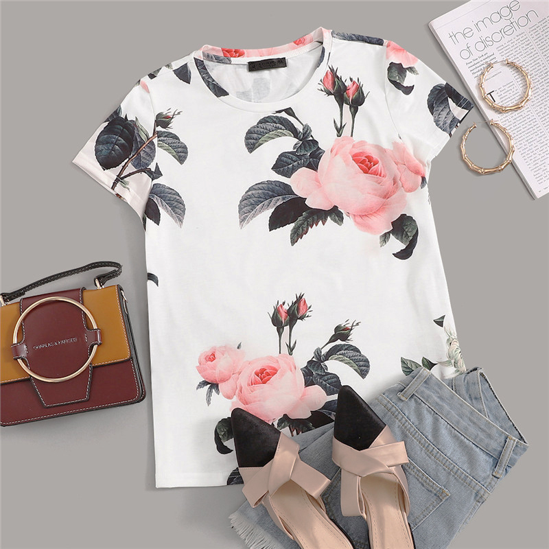 Casual Flower Print Round Neck T-Shirt - White - WOMENEXY