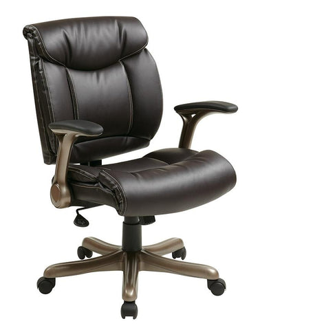 Office Star Work Smart ECH52661-EC1 Executive Eco Leather Chair in Cocoa/Espresso