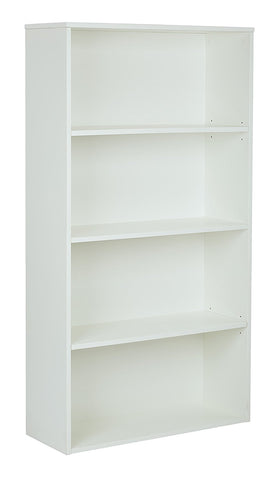 "Pro-Line II PRD3260-WH Prado 60"" 4-Shelf Bookcase with 3/4"" Shelves and 2 Adjustable/ 2 Fixed Shelves in White"