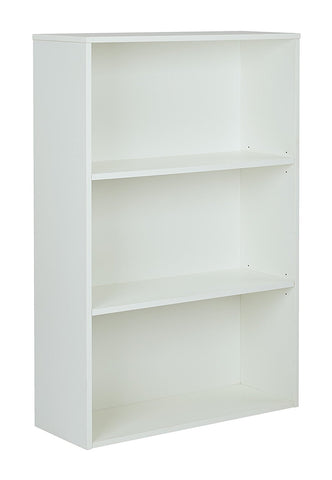 "Pro-Line II PRD3248-WH Prado 48"" 3-Shelf Bookcase with 3/4"" Shelves and 2 Adjustable shelves in White."