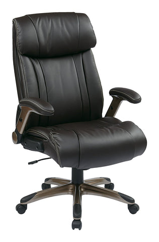 Office Star Work Smart ECH38615A-EC1 Executive Eco Leather Chair in Cocoa/Espresso