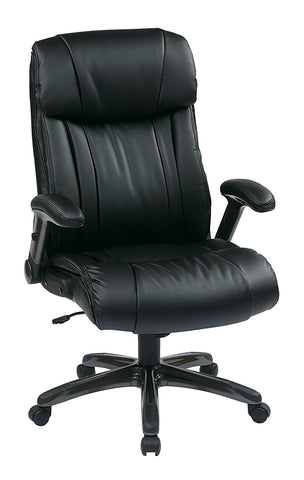 Office Star Work Smart ECH38675A-EC3 Executive Eco Leather Chair in Titanium/Black