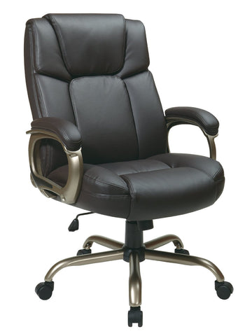 Office Star Work Smart ECH12801-EC1 Executive Espresso Eco-Leather Big Mans Chair - Peazz Furniture