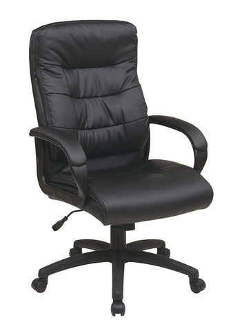 Office Star Work Smart FL7480-U6 High Back Faux Leather Executive Chair with Padded Arms