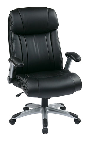 Office Star Work Smart ECH38665A-EC3 Executive Eco Leather Chair in Silver/Black